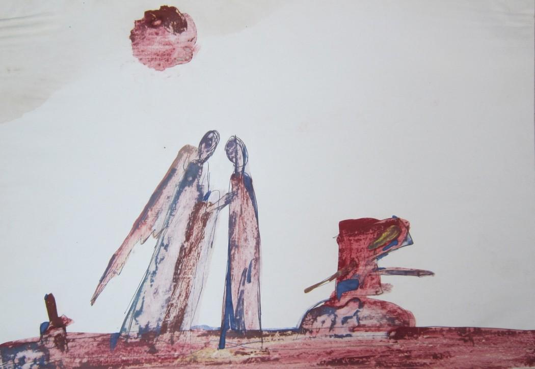 "Тронов Д., ""Ангелы"" 30х40 см., бум.смеш.техн., 1987  г."