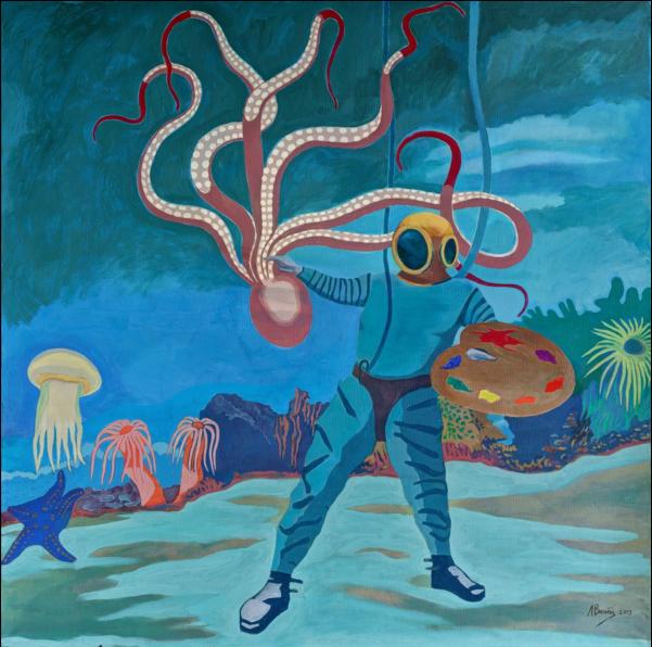 """Войцехов Л., """"Подводный этюд в багровых тонах"""", 145x145 см, 2013 г."""
