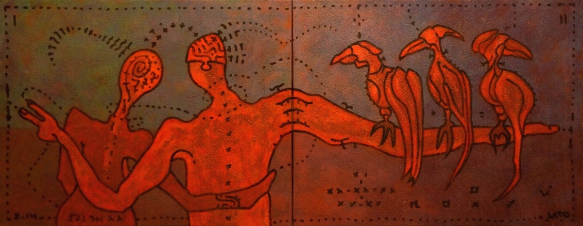 "Ю. Закордонец, ""Влюбленный авгур"", холст, акрил, кофе, 70х180 см, 2014 г."