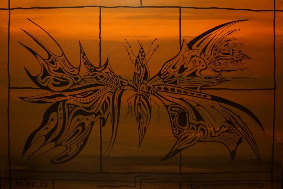 """Ю. Заокордонец, """"Из серии Зооморфизмы"""", . холст, акрил, 100х150 см, 2012 г."""