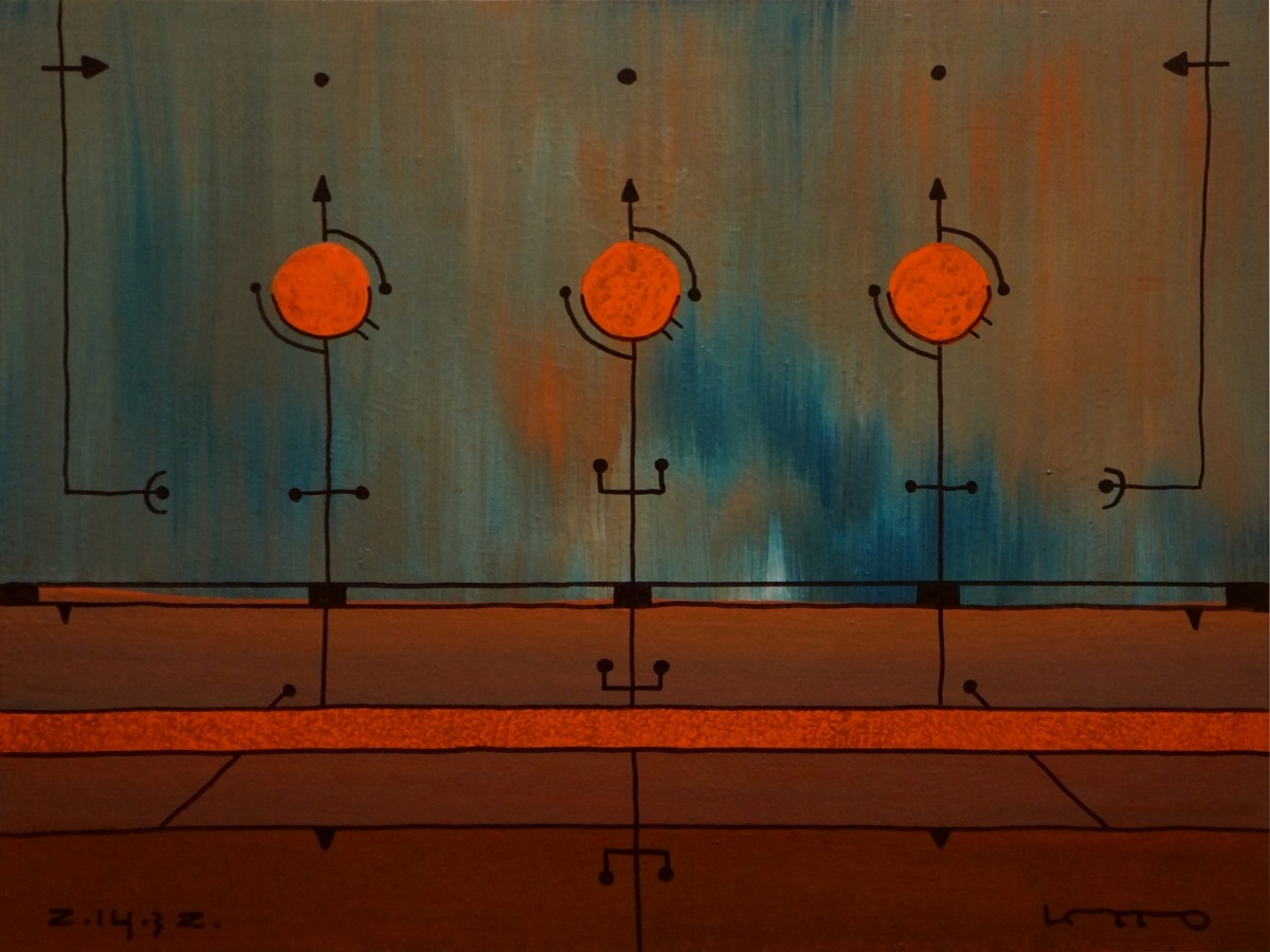 """Ю. Закордонеуц, """"Ночной полёт"""", холст, акрил, 60x80 см, 2014 г."""