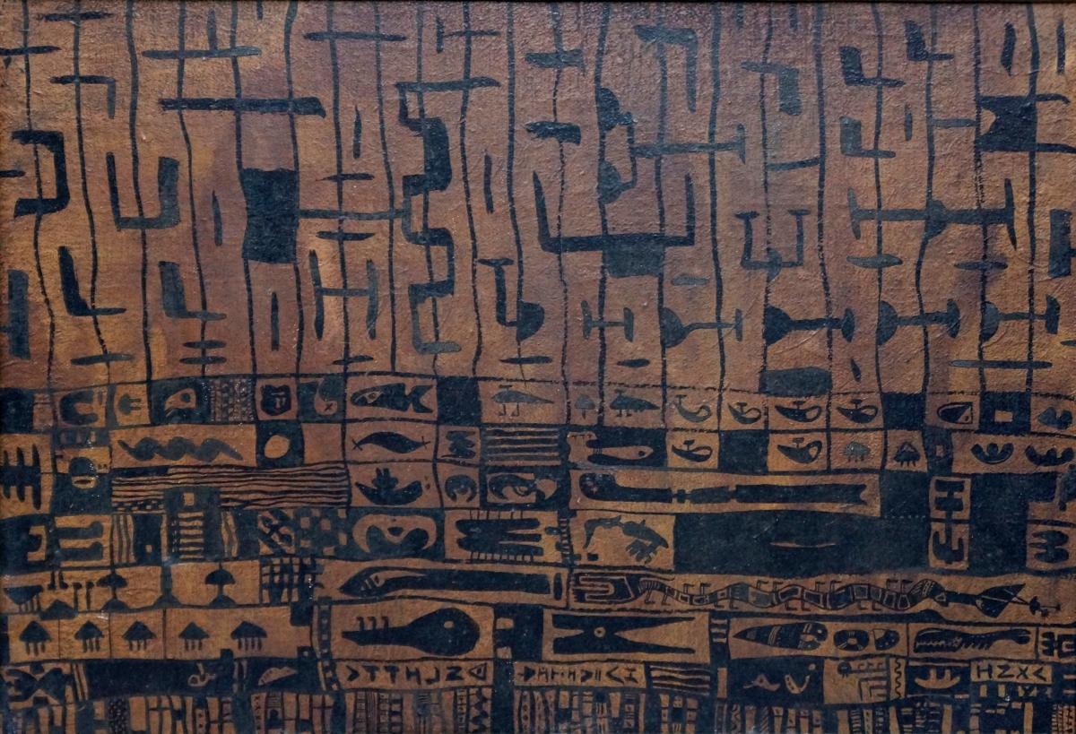 """Ю. Закордонец, """"Пасьянс"""", холст, масло, 49,5x69,5 см, 1986 г."""