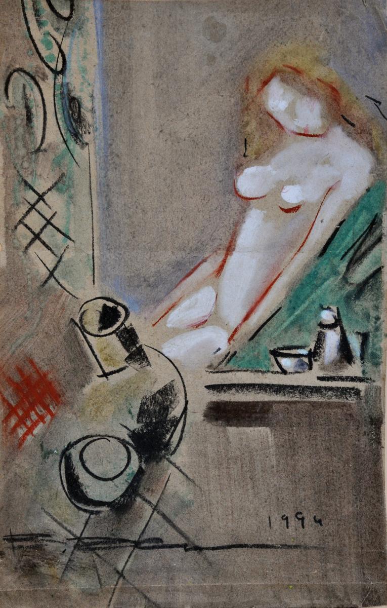 """В. Хрущ, """"Обнажённая"""", 1994 г, 46,4х29,7. б/ см.техн., коллекция А. Дымчука."""