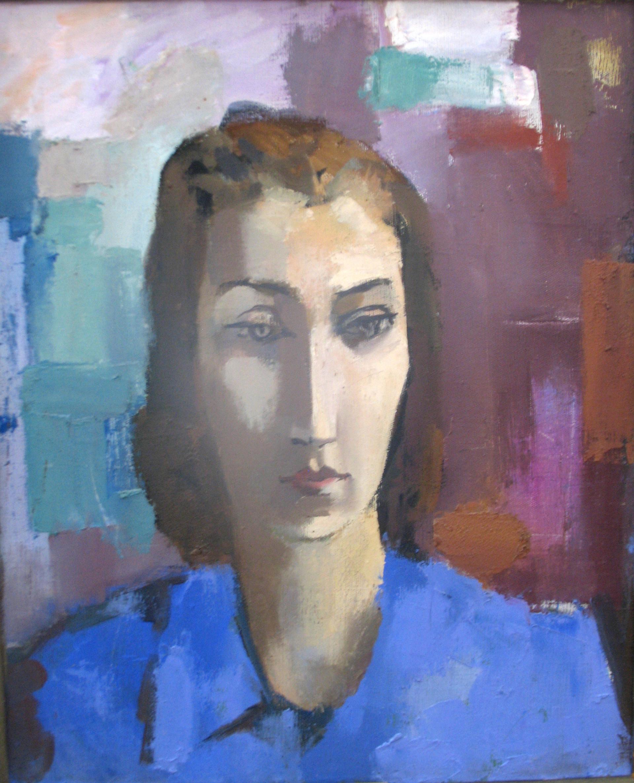 """В.Хрущ, """"Портрет В.В.Сальниковой"""", 1983 г., х/м, 65х46"""
