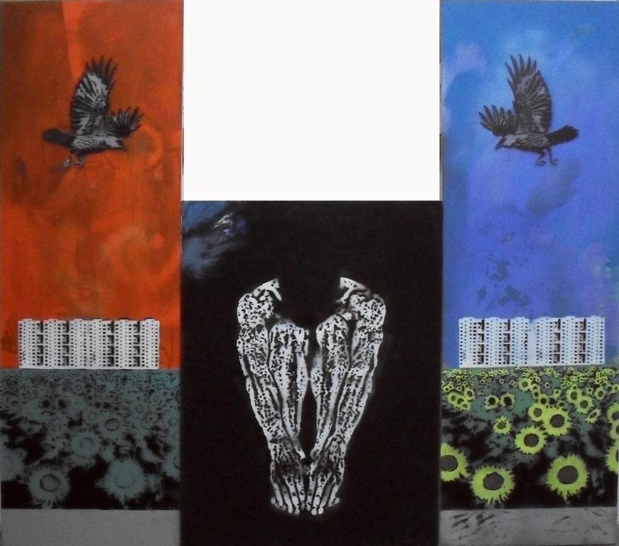 "Николай Лукин, ""Копия Скорлупа"", триптих, холст, акрил, 150х180, 2015 г."