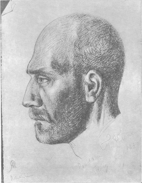 Т. Яблонская.Портрет отца. Карандаш. 1933.