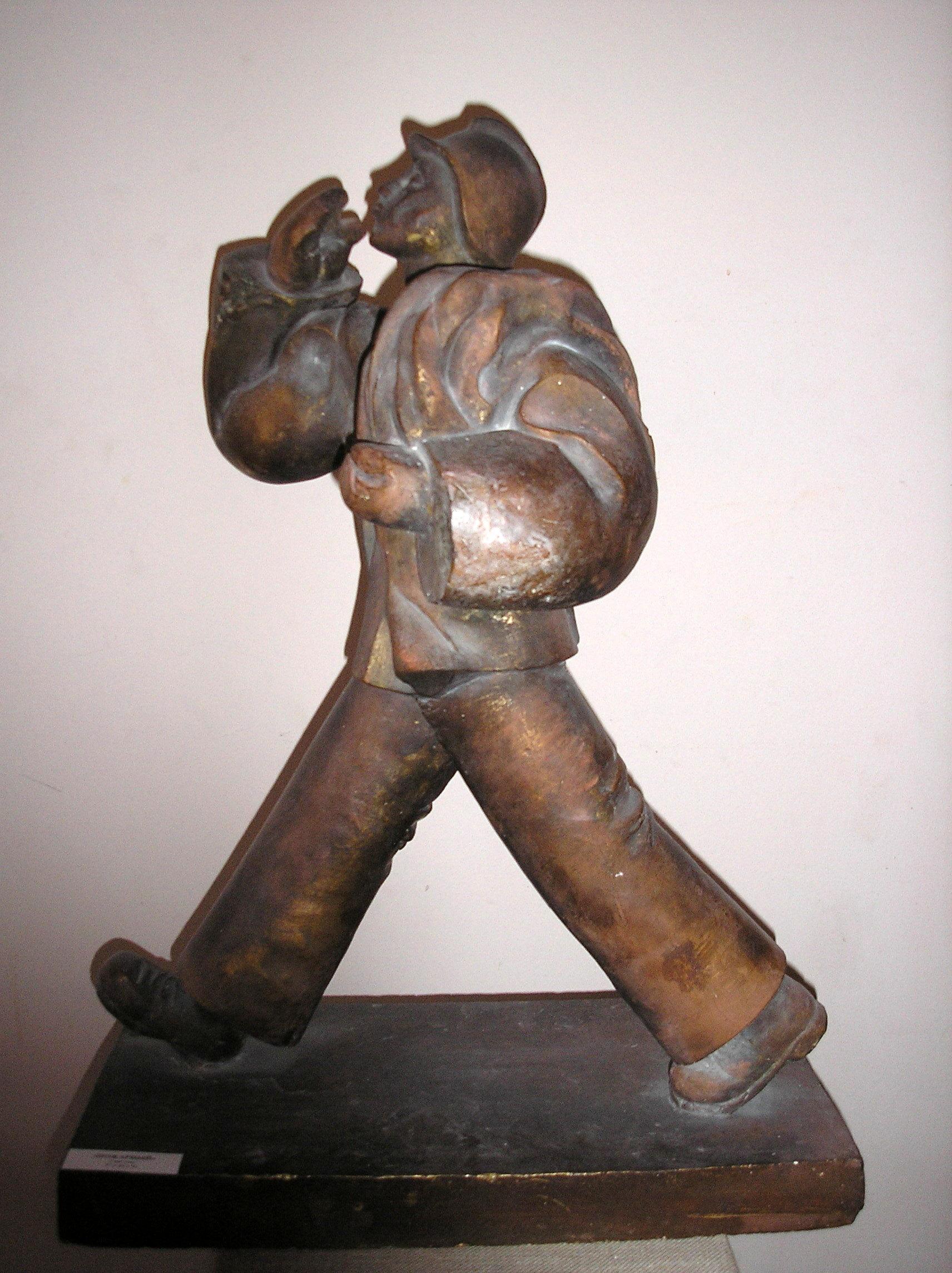 """А. Письмиченко, """"Мужской торс"""", бронза, латунь, 1987 г."""