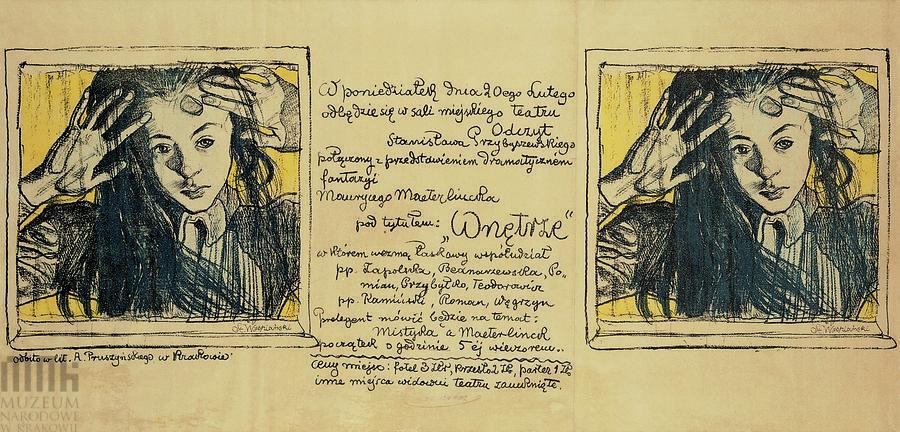 """Плакат С.Выспяньского к пьесе М.Метерлинка """"Там внутри"""" (""""Wnętrze""""), 1908 г."""